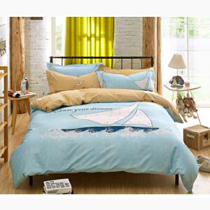 OLYI 纯棉床上用品四件套 全棉斜纹活性印花床单式家纺四件套 杨帆起航床品四件套 床上四件套