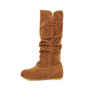 ELEISE美国艾蕾莎新品秋冬187-663韩版磨砂绒面内增高女士高筒靴