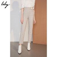 Lily2018秋新款女装时尚格纹高腰显瘦九分裤直筒裤118320C5203