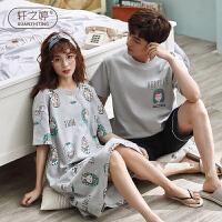 轩之婷 情侣睡衣夏季短袖纯棉男可外穿全棉可爱韩版卡通女睡裙家居服套装