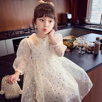 女童连衣裙春装儿童波点裙子小女孩网纱公主裙