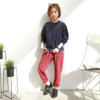 女童卫衣套装春款秋2018新款韩版休闲时尚中大童宽松格子裤两件套