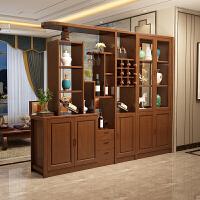 客厅进门玄关隔断柜实木间厅柜门厅柜新中式酒柜双面多功能屏风柜 组装 框架结构