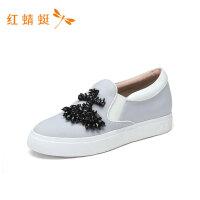 红蜻蜓女鞋新款时尚舒适简约一脚蹬舒适轻便休闲低跟女单鞋
