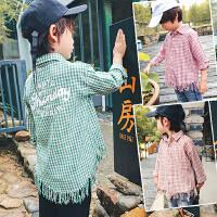 S儿童装男童韩版长袖格子衬衫薄款衬衣2018宝宝春装新款潮D840 J