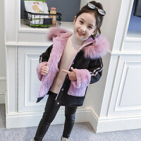 冬装洋气童装女孩连帽夹克儿童加绒加厚上衣女童牛仔外套