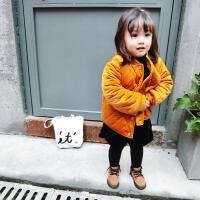 霓婴坊 冬季夹棉单排扣小童外套保暖金丝绒宝宝棉衣儿童棉袄
