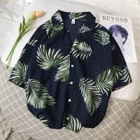 波西米亚风原宿夏季短袖花衬衫风中性宽松薄衬衣男上衣