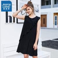 [2件2.5折到手价:60元]真维斯无袖连衣裙女 2019春新新款 女士纯色宽松简约套头学生裙装