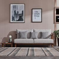北欧乌金木沙发客厅组合小户型全实木新中式家具布艺沙发现代简约 位