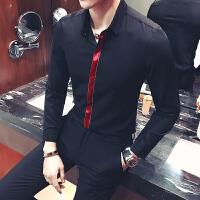 长袖衬衫男士村杉忖寸衫韩版修身衬衣酒吧KTV工装青年织带大码5XL