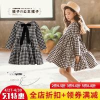 女童长袖连衣裙2018新款童装女大童春装韩版潮格子娃娃裙儿童裙子