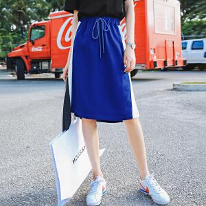 七格格a字裙半身裙短裙女夏装2018新款高腰时尚中长款pphome裙子