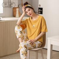 轩之婷 短袖长裤睡衣女夏季纯棉甜美可爱韩版全棉薄款家居服夏天两件套装