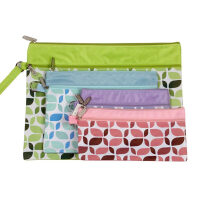 渡美NF-623 A4 A5 B6文件袋 彩色花纹牛津布文件袋 学生双层双拉链袋 资料袋