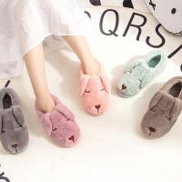 秋冬季可爱棉拖鞋女韩版包跟保暖情侣居家室内防滑厚底月子鞋产后