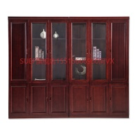 办公书柜文件柜办公家具办公室资料柜档案柜木质柜子带门办公橱柜 8门实木贴皮书柜 长3.2米 16mm