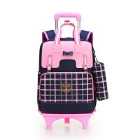 小学生拉杆书包女童3-5年女生儿童6-2周岁女孩可拆卸六轮爬楼 粉红色 大三轮