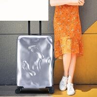 行李箱拉杆箱旅行箱硬箱男女韩版大脚丫箱子20/24寸万向轮 潮 银色 20寸