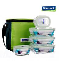 glasslock三光云彩玻璃微波保鲜盒 创意冰箱饭盒5件套装GL31-B