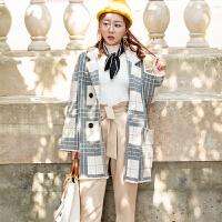 长袖格子针织大衣2018韩版宽松中长款西装领时尚慵懒风外套