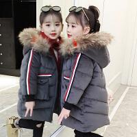 冬季韩版儿童加厚中大童中长款时尚带饰棉袄女童棉衣