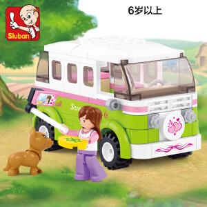 【当当自营】小鲁班新粉色梦想小镇女孩系列儿童益智拼装积木玩具 旅行车M38-B0523
