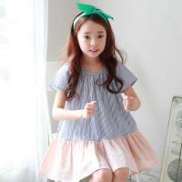韩版儿童沙滩裙女童海边度假连衣裙宝宝条纹短袖短裙中大童学院风