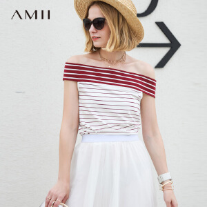 【五折再叠20元优惠券】Amii极简清新小心机露肩T恤女2019春新款条纹修身一字肩弹力上衣