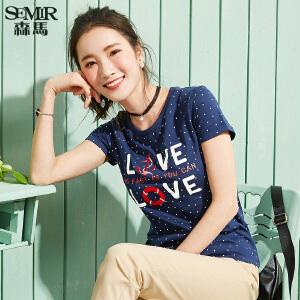 森马短袖T恤 夏季新款 女士学生刺绣波点印花圆领打底衫上衣