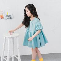 夏天韩国女童沙滩裙儿童海边度假灯笼短袖连衣裙夏季女孩公主裙子