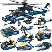 启蒙飞机积木 8合1直升机警察 儿童智力拼装 兼容 乐高玩具男孩子