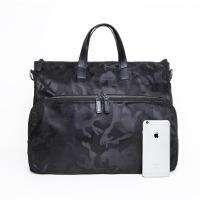 男式尼龙包迷彩配布包手提包休闲商务斜挎包轻便男包 黑色迷彩