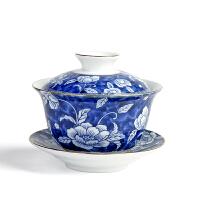 传世青花瓷盖碗茶杯功夫茶具陶瓷三才碗泡茶器德化高白介杯敬茶碗