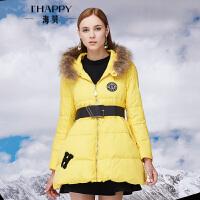 【2件5折】【10.25上新】海贝2016冬季新款女  连帽毛领中长款羽绒服