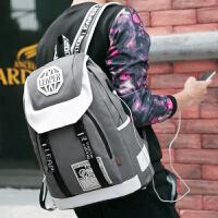 男士双肩包休闲校园旅行背包大学生初高中学生大容量书包时尚潮流SN5421 灰色