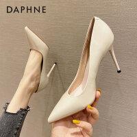 达芙妮高跟鞋女2021春新款尖头细跟漆皮单鞋简约气质工作鞋职业鞋
