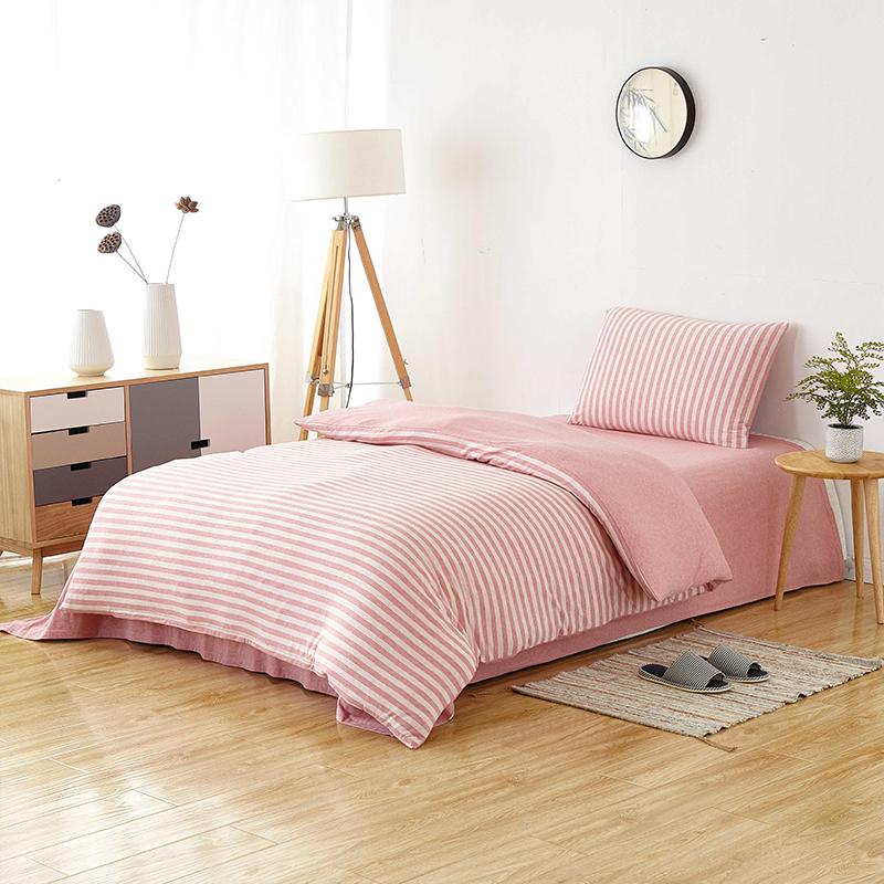 当当优品家纺 全棉日式针织床品 1.2-1.35米床 床单三件套 茶香粉当当自营 MUJI制造商代工