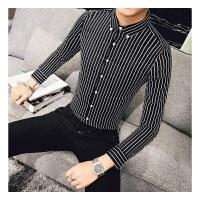 韩版休闲男士长袖衬衫秋季条纹青年百搭寸衣英伦小号S码 修身时尚