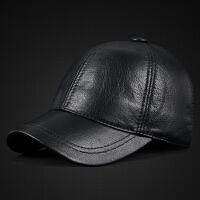 新款男士秋冬季户外运动保暖棒球帽鹿纹羊皮帽子真皮鸭舌帽