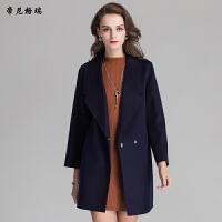 秋冬新款女士中长款翻领时尚修身欧美双面羊毛呢大衣外套M-616322