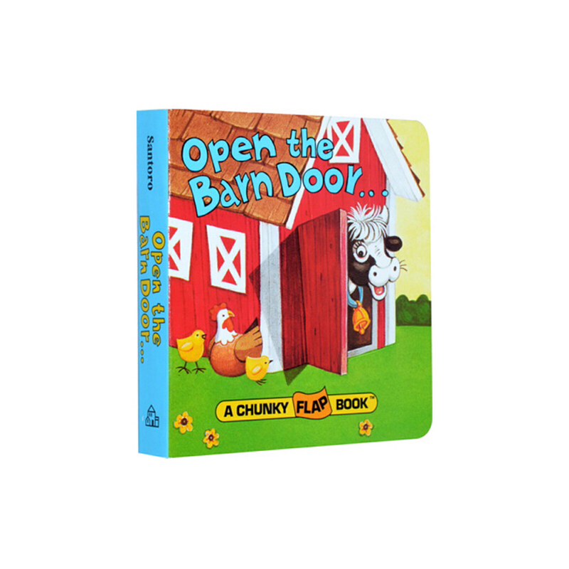 【89选5】【包邮】英文原版绘本0 3岁 Open The Barn Door Find a Cow 农场动物认知拟声词趣味翻翻纸板书 儿童启蒙益智幼教亲