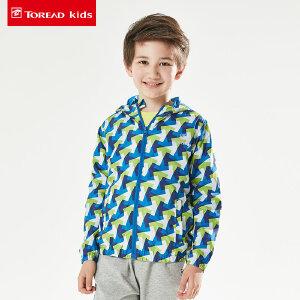 探路者童装 秋季新款男童满印户外运动系列儿童梭织连帽拉链外套