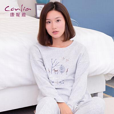康妮雅女士秋季长袖简约卡通印花可爱薄款套装