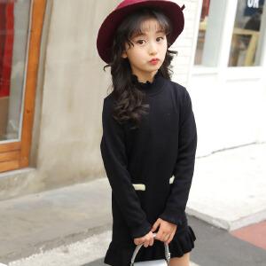 乌龟先森 儿童毛衣 女童高领长袖单色中长款毛线衣秋季韩版新款时尚休闲中大童款式针织衫