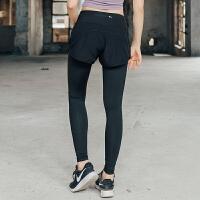 新款假两件跑步长裤女瑜伽健身速干透气训练运动长裤春紧身弹力裤