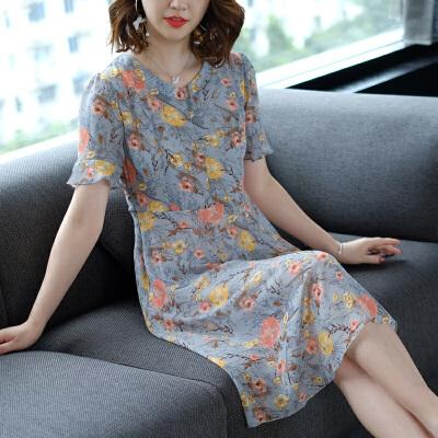 RANJU然聚 2018夏季女装新品新款款过膝连衣裙中年女装短袖时尚印花雪纺裙