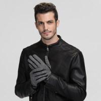 户外全指触屏手套加厚保暖羊毛手套开车手套男士骑行手套