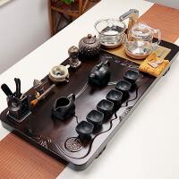 功夫茶具套装黑檀实木茶盘台整套家用陶瓷紫砂茶杯全自动玻璃简约