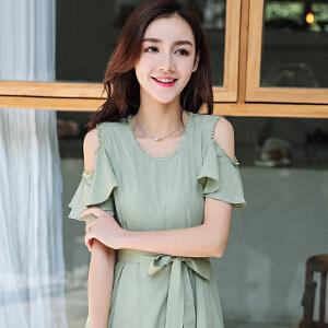 中长款高腰素连衣裙女夏装2018新款棉立方气质收腰短袖冷淡风裙子
